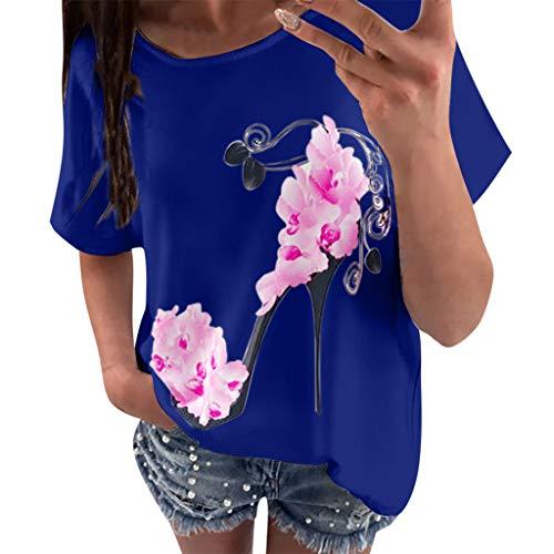 OVERDOSE Frauen Kurzarm Blumen Pumps Gedruckt Tops Strand Beiläufige Lose Bluse Top T-Shirt (EU-36/CN-S, X-f-blau)