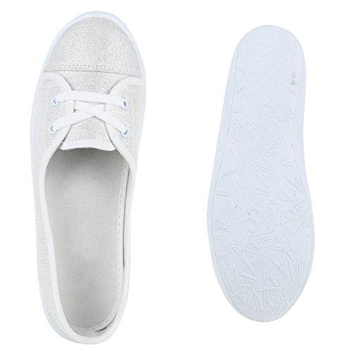 Klassische Damen Ballerinas | Sportliche Stoffschuhe | Slipper Flats | Sneakers Slip-ons | viele Farben Silber
