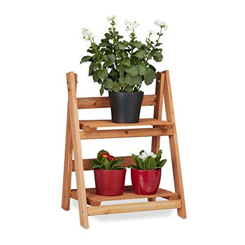 Relaxdays 10020745_58 fioriera a scaletta legno scaffale a scala portafiori da interno 2 ripiani pieghevole hlp 51 x 41 x 25 cm marrone