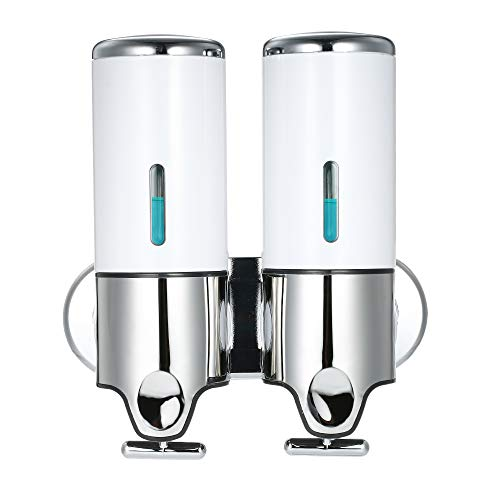 Decdeal 500ml x 2 Doble Dispensador de Jabon de Pared,Manual Dispensador de Líquido Dispensador de Gel de Ducha de Champú Jabón