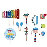 MagiDeal 1 Set Orff Percussion Musical Instruments Handbell Tambourine Kit Kids Preschool Kindergarten Music Learning Toys - 11pcs #1, As Described