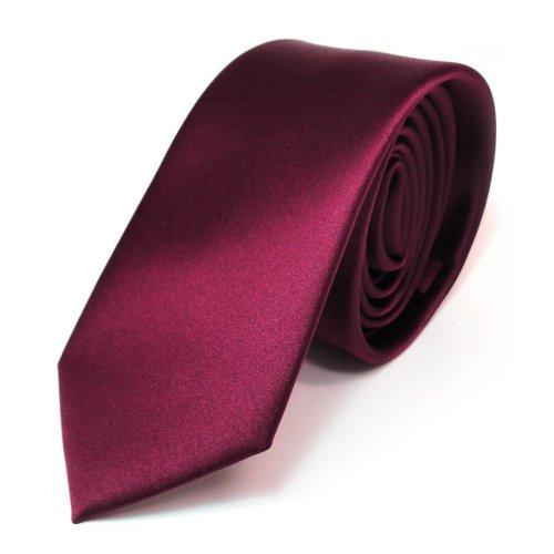 TigerTie Schmale Satin Krawatte in rot bordeaux uni Polyester