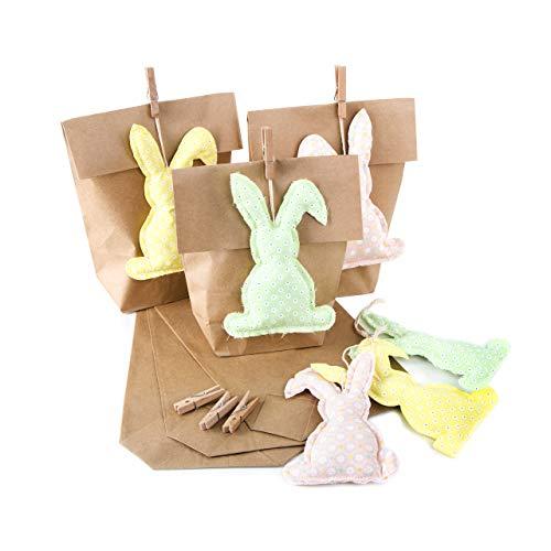 Logbuch-Verlag 6 Osterhasen Anhänger + kleine Geschenktüte grün gelb rosa Verpackung Ostern Kinder Osternest Hasen Anhänger Osterdeko Papiertüte Nest