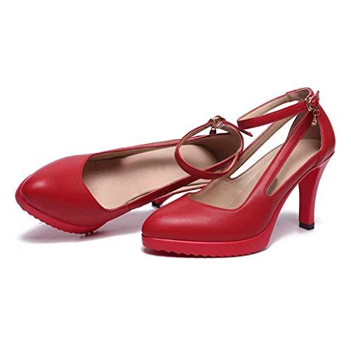 KISlink Rote Farbe knöchel Schnalle high Heels weiblichen Echtleder einzelne Schuhe wies hohl dünne fersen wasserdichte plattform pumpen mädchen Party Kleid Schuhe - Echtleder-plattform