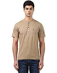 Park Avenue Mens Plain Regular Fit T-Shirt (PCKA00696-F444_Medium Fawn)