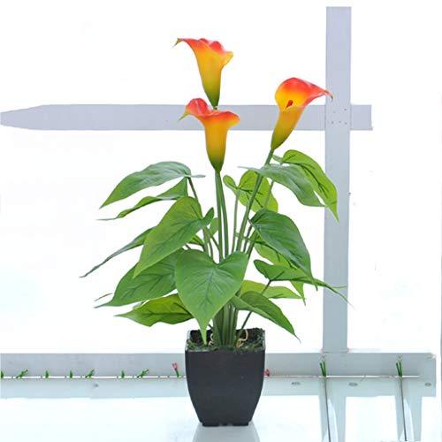 Zjjxd simulazione bonsai di piante, fiori di calla orientale in vaso da fiori nero in stile moderno, pianta di simulazione verde, fiori artificiali di decorazione d'interni orange