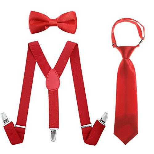 Kinder Hosenträger Fliegen Krawatten Sets - Einstellbar Elastisch Klassisch Hosenträger Fliegen Set für 6 Monate alte - 13-jährige Jungen & Mädchen (Rot, 65 cm(5 Monate - 6 Jahre alt)) - Für Große Hosenträger Kinder