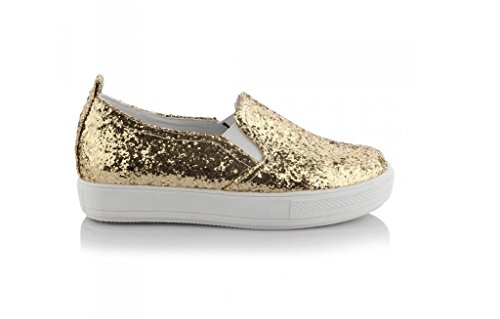 Beauqueen Pumps Freizeit Lazy Schuhe Damen Frühling und Sommer Flache Sequins Schwarz Gold Silber Loafers 30-43 Damen Freizeitschuhe Gold