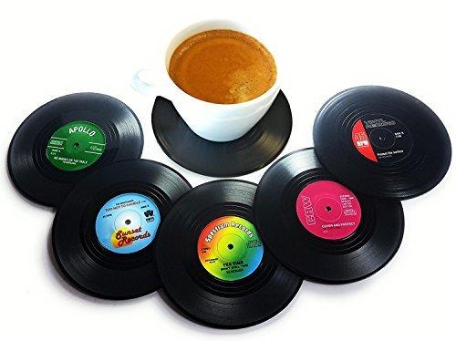 BlueBeach® 6 Pièces Rétro CD Record Dessous de Verre Vinyle Sous-Verres pour Boissons / Café / Tasses à Thé