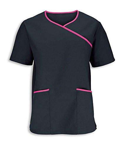 Alexandra stc-nm43bp-xxl Herren Stretch Scrub Top, Uni, 67% Polyester/33% Baumwolle, Größe: 2X Große, schwarz/rosa (2 Scrubs X Top)
