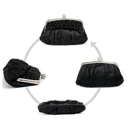 NBAG Frauen Klassische Perlen Handtasche Abendkleid Bankett Tasche Braut Brautjungfer Ehe Kleid Tasche Prinzessin Damen Tasche,Blue Black