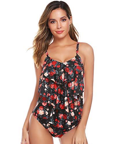 Abollria Damen Tankini Floral Print Zweiteiler Badeanzug Elegant Volant Monokini mit Verstellbare Träger Bademode für Urlaub -