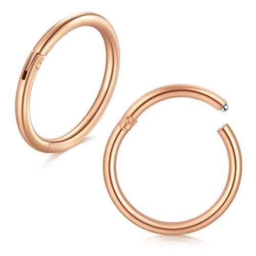Incaton Rose Gold Nasenpiercing Ohrpiercing Lippenpiercing 12mm 16 Gauge 2stk Edelstahl Septum Knorpel Tragus Hoop Ringe Piercing Schmuck (Hoop 16-gauge-gold Earring)