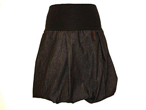 dunkle design Damen Ballonrock Jeansrock Jeans Farbe Midi oder Knielang nach Wahl Schwarz