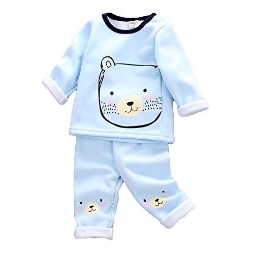 Hibote 2 pezzi neonati baby pile cotton pigiama inverno warm long sleeve sleepwear per 0-4 anni bambini blue bear 90cm