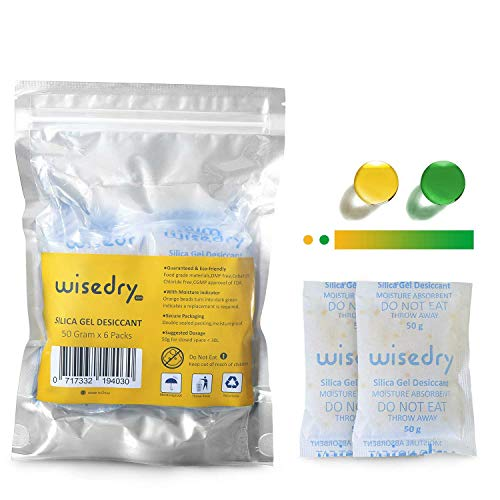 648aa0623 wisedry 50 Grammes [6 Paquets] Sachets Gel de Silice Déshydratant  Recyclable Non-Toxique