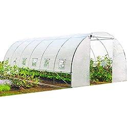 Probache - Grande Serre de Jardin Tunnel Toutes Saisons 18 m² 180gr/m² Blanche Transparente