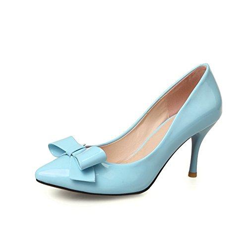 balamasa pour femme à enfiler spikes-stilettos massif brevet en cuir pumps-shoes Bleu