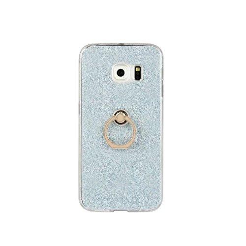 Luxus Bling Sparkle Style Case, Soft TPU [Silikon] Flexible Glitter Rückentasche mit Fingerring Stand [Anti Scratch] [Shockproof] für Samsung Galaxy S6 Edge Plus ( Color : White ) Blue