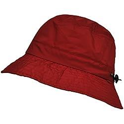 TOUTACOO, Gorro Impermeable en Nailon, Ajustable y Fácil de Plegar, Gorro para la Lluvia Rojo