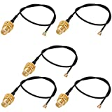 uxcell RF1.37 Soldering Wire IPEX to SMA Antenna WiFi Pigtail Cable 30cm Long for Router 5pcs