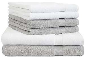 6 tlg. Duschtücher Handtücher Set Premium Farbe Weiß & Silber grau 100% Baumwolle 2 Duschhandtücher 70x140 cm 4 Handtücher 50x100 cm