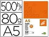 Liderpapel 928229 Papier Écriture A5 80g/m2 Ramette Lot de 500 Blanc