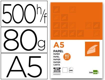 Liderpapel Papel A5 80g/m2 Paquete 500 Color Blanco