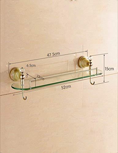 DEED Wandbehang Mount Rack Toilette europäischen Stil Gold Single - Layer Glas kosmetische Regal Badezimmer Spiegel vorne Frame Badezimmer liefert Lagerregal -