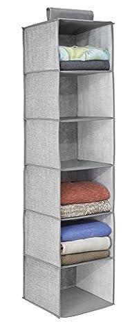 mDesign étagère suspendue – rangement suspendu – meuble suspendu en tissu – polyvalent – 10 compartiments – en polypropylène – gris