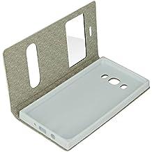 Avizar Custodia, Custodia Foglio Doppia Finestra Testurizzata per Samsung Galaxy J52016–Bianco