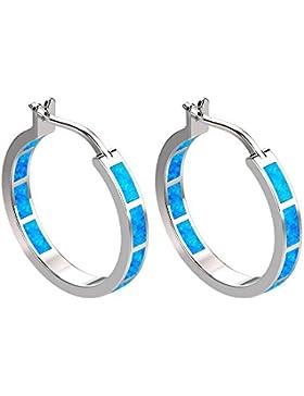 925Sterling Silber feiner Kreis Scharnier Creolen–rund Creolen blau grün Fire Opal Inlay Ohrringe für Frauen...