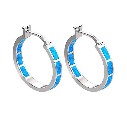 925Sterling Silber feiner Kreis Scharnier Creolen–rund Creolen blau grün Fire Opal Inlay Ohrringe für Frauen und Mädchen