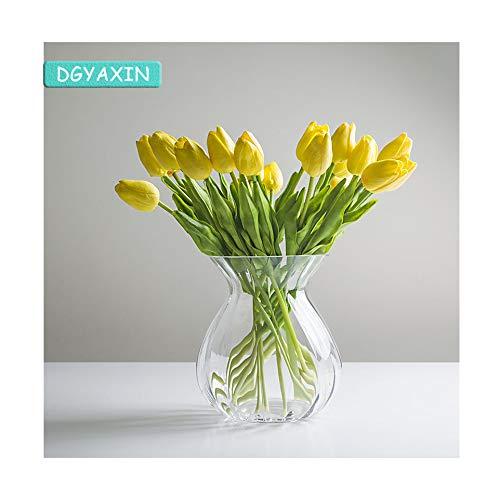 DGYAXIN Vase Glass, Hochwertig Modern Decoration Flower Vase, Tulpen Glasvase, Tulpenvase, Plants Bottles, Kunstblumen Blumenvase, Garden Osterdekoration Anniversaries Sonnenblumen Möbel,Clear Crystal Glass Vase
