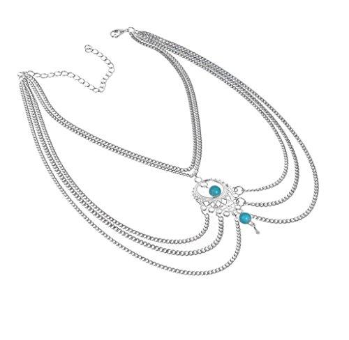 Culater® Böhmen türkis Blau Wulst Oberarm Armbinde Troddeln Halskette Körperkette