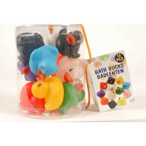 Juego de 12de baño Pato en 12Diferentes Colores Surtidos En Caja, Patito de goma, cada aprox. 5,5x 5,5x 4,3cm