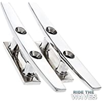 """AISI 316 Marine Grade Stainless Steel Flat Top 2 Hole Boat Deck Cleats 5"""" 1 Pair"""