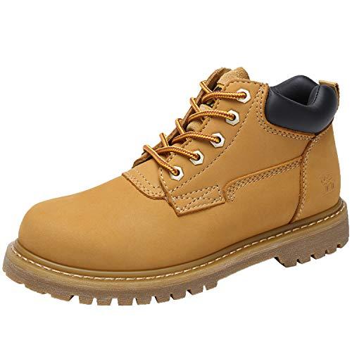 CAMEL CROWN Herren Stiefel Herbst Winter Leder Schnürschuhe Stiefeletten Rutschfeste Gummisohle Schuhe Boots Arbeit Wandern Outdoor Honig EU 42