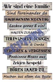 """Bild """"Planken-Schild - Familienregeln"""" ~ Lv KW 11"""