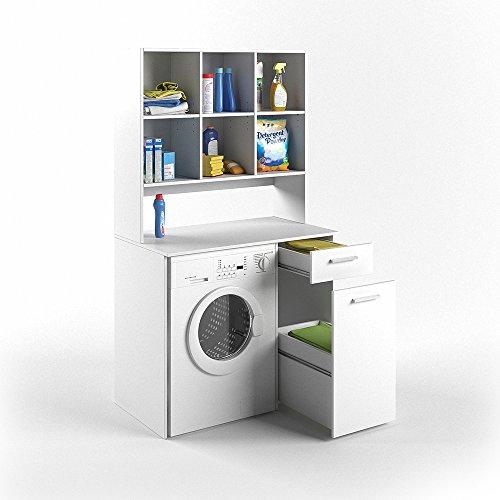 VICCO Waschmaschinenschrank Kombination weiß 185 x 103 x 60 cm - Badregal Hochschrank Waschmaschine Bad Schrank Badezimmerschrank (weiß)