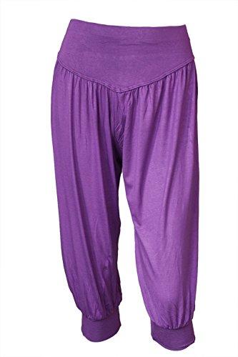BeautyWill Yogahose/Laufhose/Jogginghose Fitness-Hose Hose in 3/4-Länge für Damen - für Sport und Training aus 95% Modal, M, Farbe: Lila