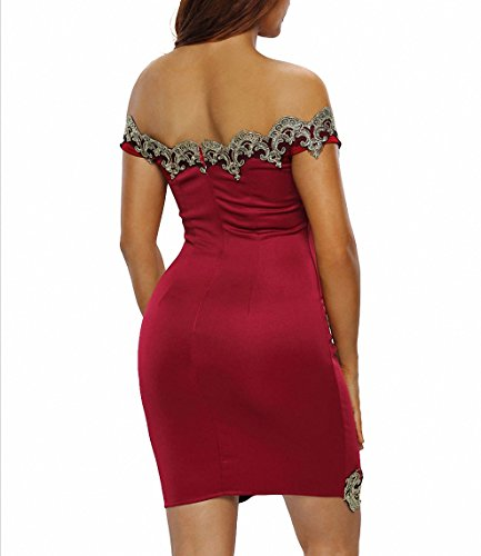 Femmes Plus Taille Rouge Lace Noir Off Shoulder Mini Dress Pour Dames Bodycon Office Robes Work Night Clubwear Rouge