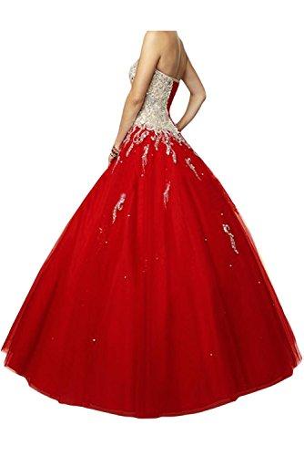 Gorgeous Bride Elegant Herzform Lang A-Linie Ballon Tuell Satin Abendkleider Festkleid Ballkleid U-Fuchsia
