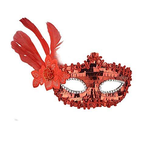 (Fuxitoggo Halloween Sexy Feder Pailletten Elegante Augenmaske Maskerade Ball Karneval Fancy Party (Farbe : Rot))