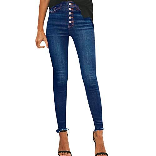 SIOPEW Hosen Damen Hight Taille Loch Knopf Denim Jeans Stretch Slim Hose LäNge Jeans Overalls Röcke Shorts Strumpfhosen Sweatpants -