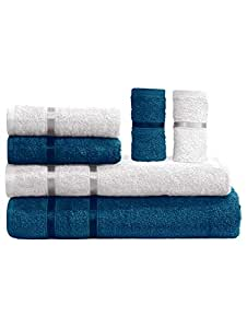 Story@Home 6 Piece Combo 450 GSM Cotton Soft Towel Set - Iris Blue and Milky White