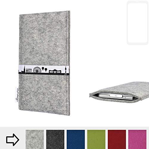 flat.design für Xiaomi Blackshark Helo Schutz Tasche Handyhülle Skyline mit Webband Wien - Maßanfertigung der Schutz Hülle Handytasche aus 100% Wollfilz (hellgrau) für Xiaomi Blackshark Helo