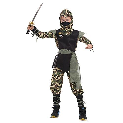 LOLANTA 7 Stücke Kinder Jungen Camouflage Ninja Rollenspiel Halloween Kostüm Neuheit Cosplay Outfit (Kinder Camouflage Ninja Kostüm)