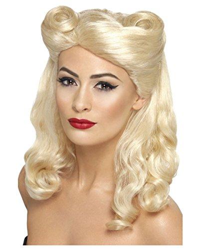 Blonde 40er - 50er Jahre Pin Up Girl Perücke für (Perücken Vintage)