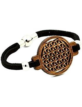Blume des Lebens - Armband aus Holz - Lederband - Magnetverschluss